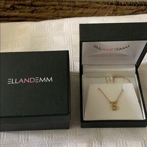 Ellandemm S initial 14k Gold Necklace